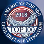 America's Top 100  Civil Defense Litigators 2018® Recipient Award